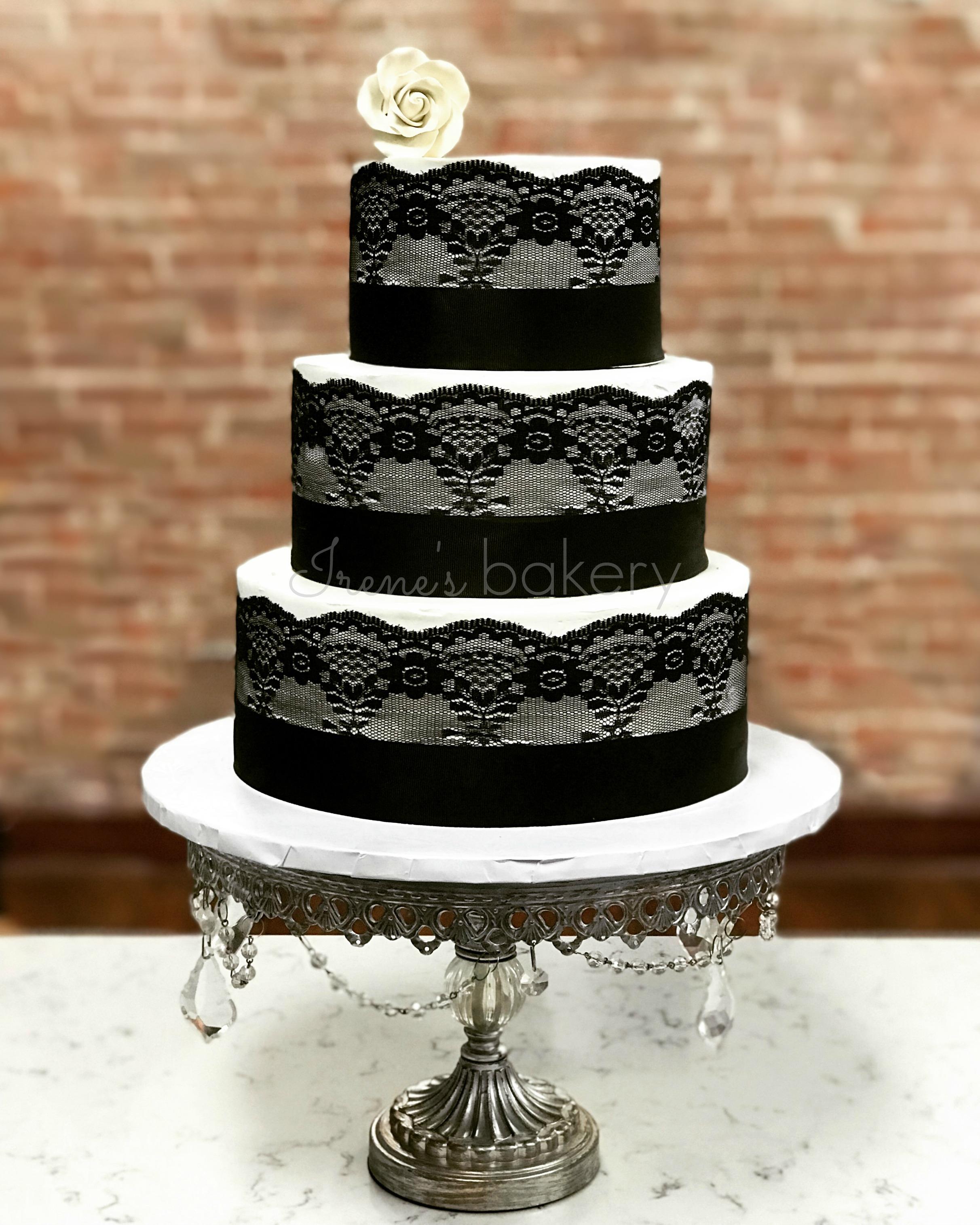 Black Lace Wedding Cake Irenes Bakery